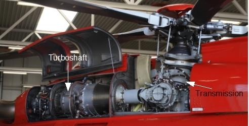Helicopter turboshaft and transmission